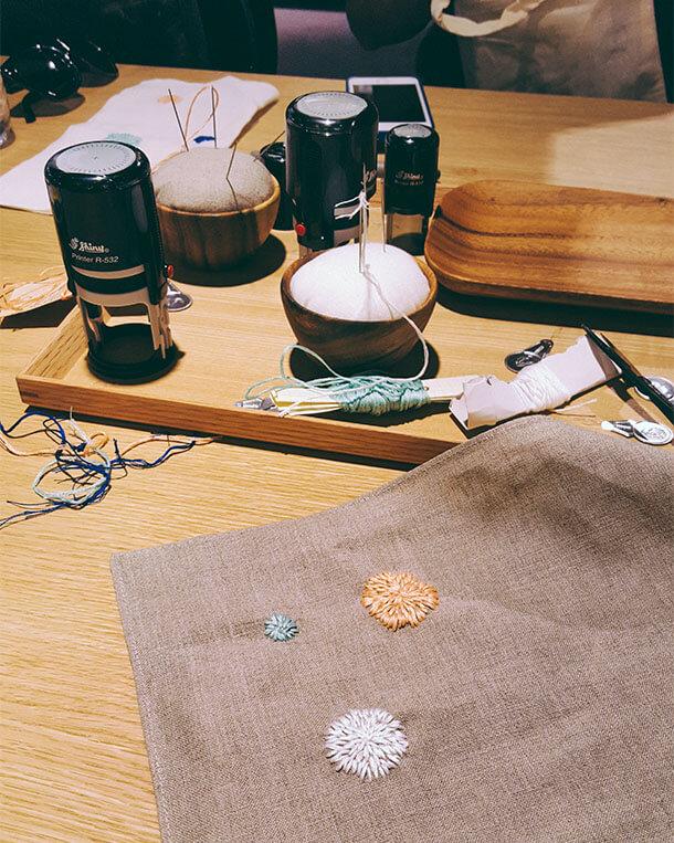 Dettaglio ricamo workshop sashiko MUJI