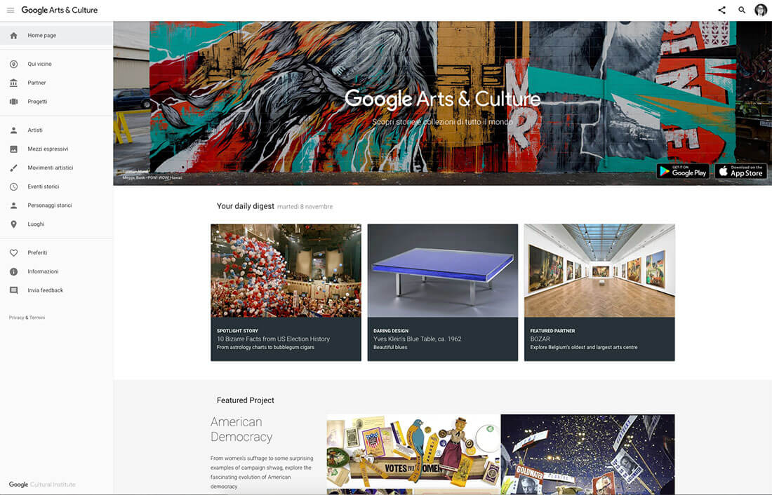 Homepage del sito Google Arts & Culture