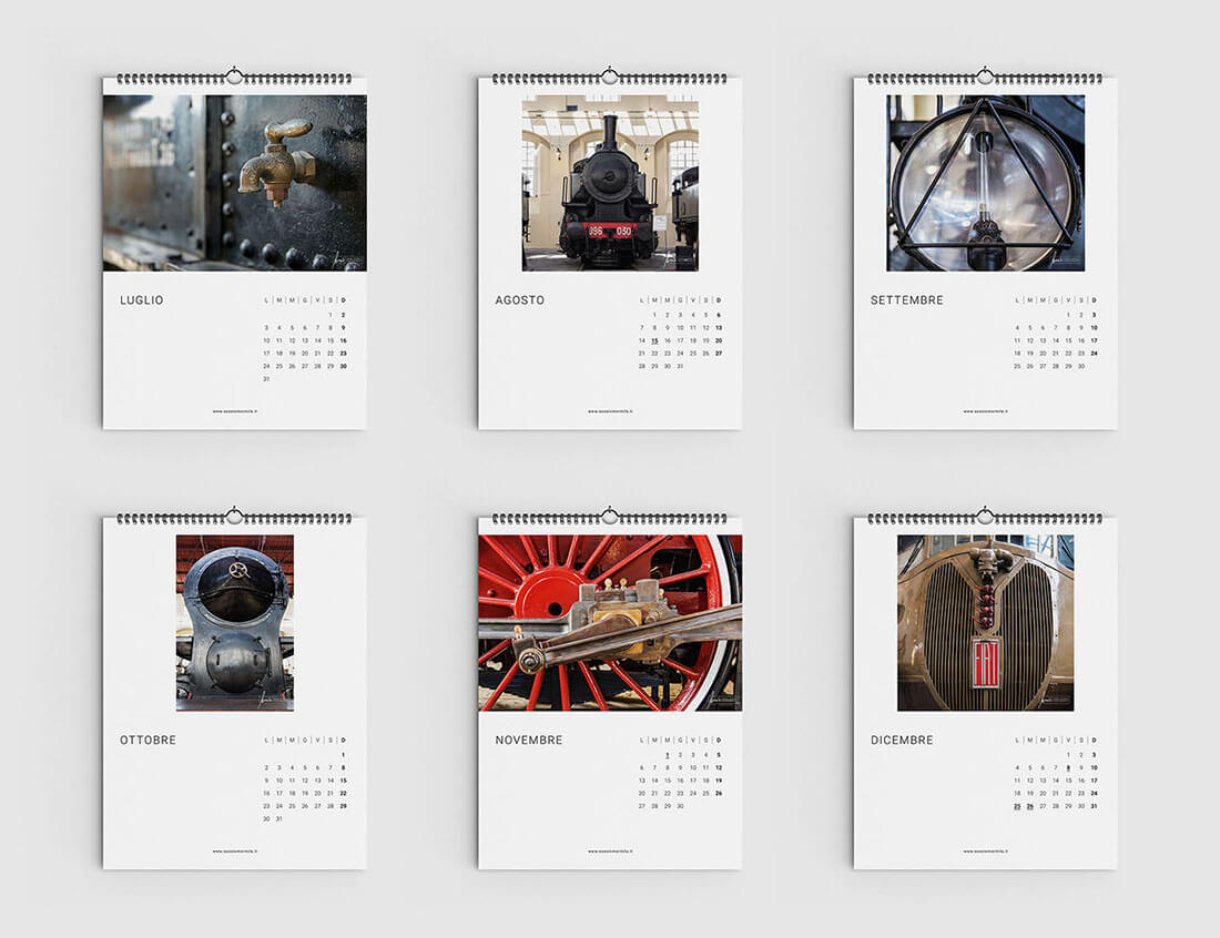 Progetto grafico calendario museo ferroviario pietrarsa