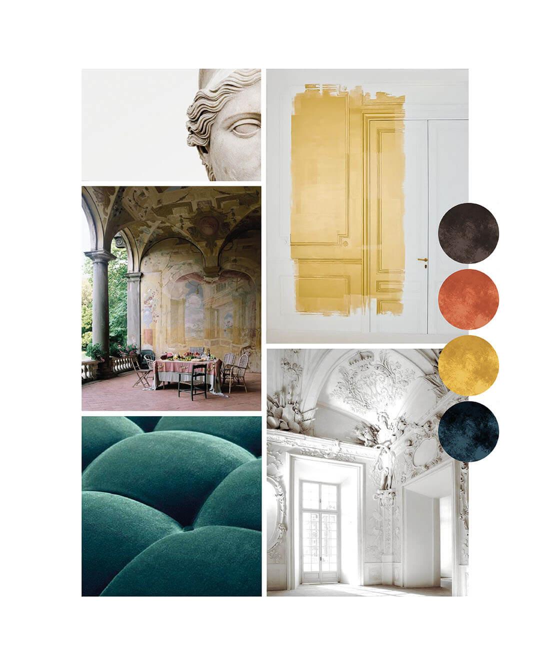 Elegant moodboard styling per living room by Marianna Milione designer