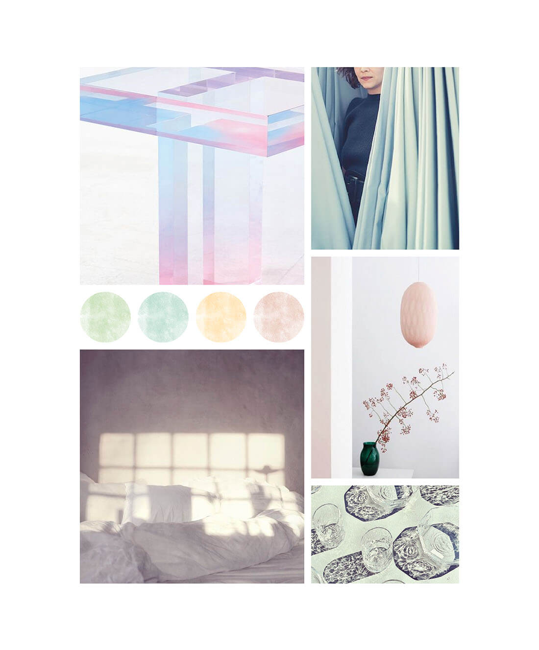 Pastel moodboard styling per creative office by Marianna Milione designer