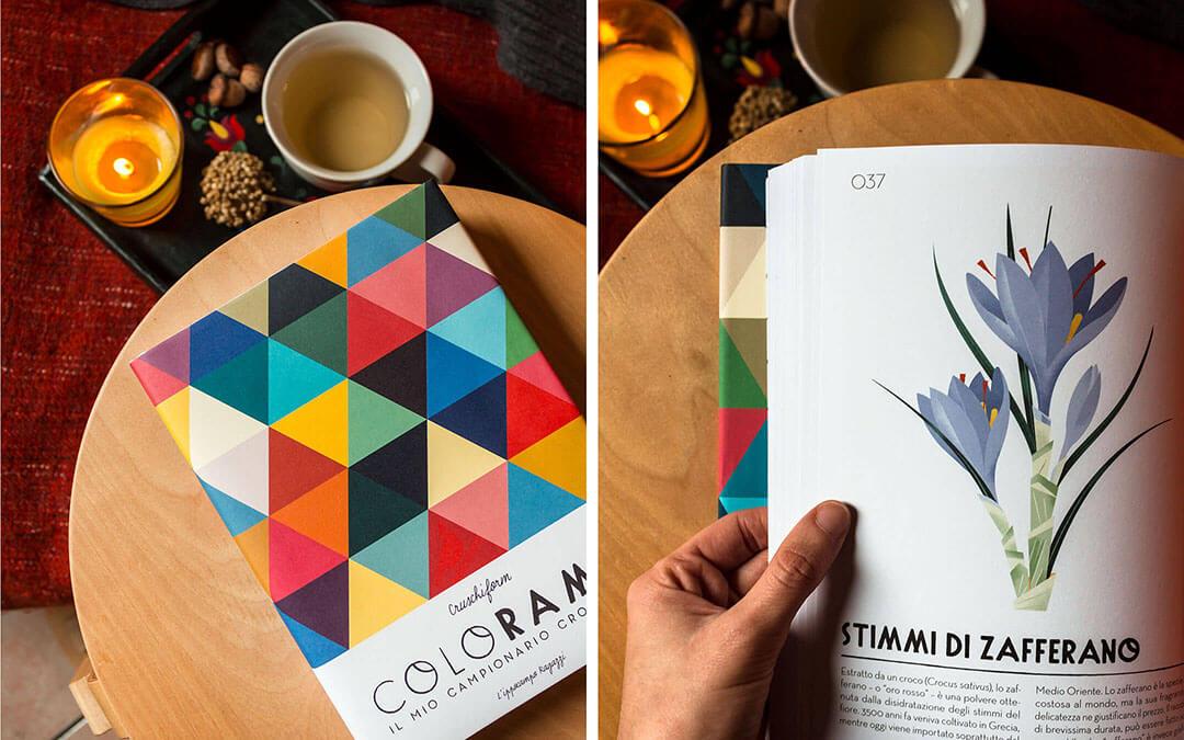 Colorama, libro sui colori. Copertina e illustrazione stimmi di zafferano arancione