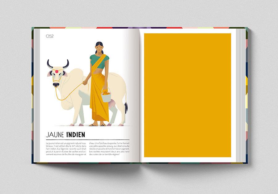 Colorama, libro sui colori. Pagina colore giallo indiano