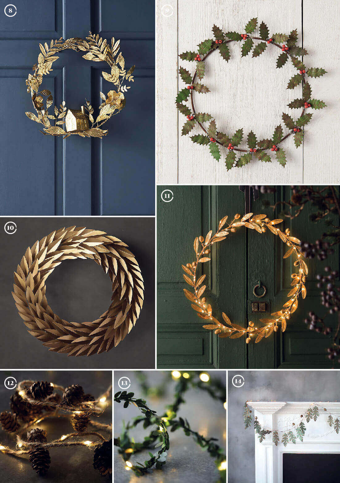 Decorazioni natalizie: ghirlande rotonde e in filo