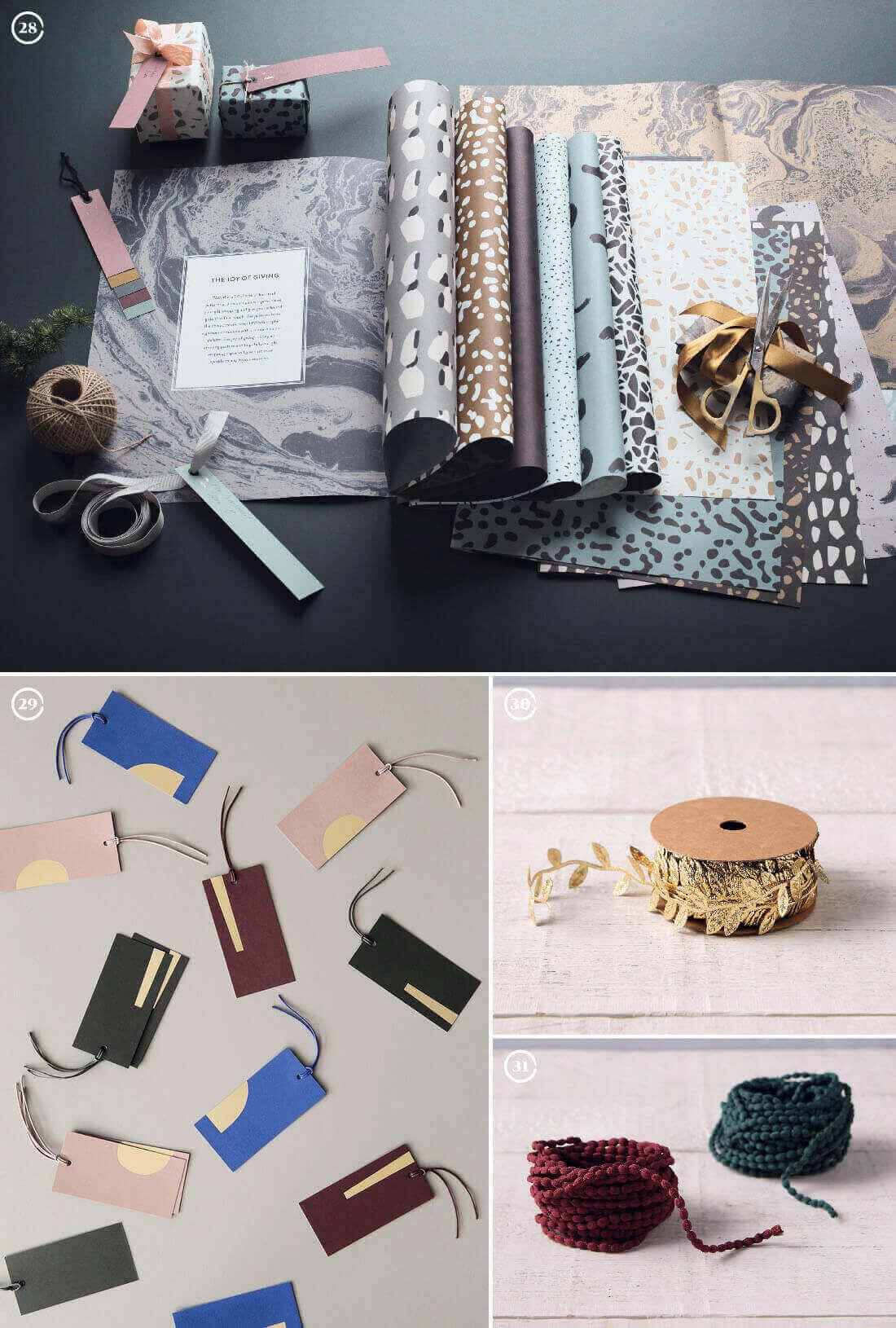 Decorazioni natalizie: carte per pacchi regalo e nastrini