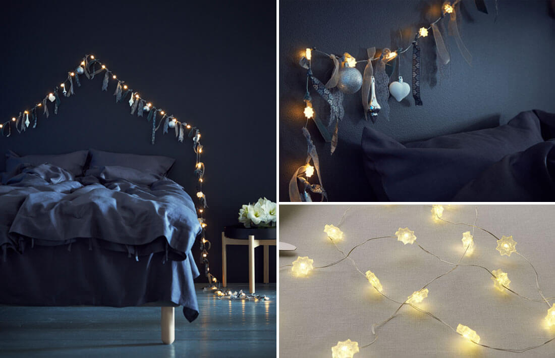 Idee fai da te per natale, testiera luminosa. Fonte IKEA