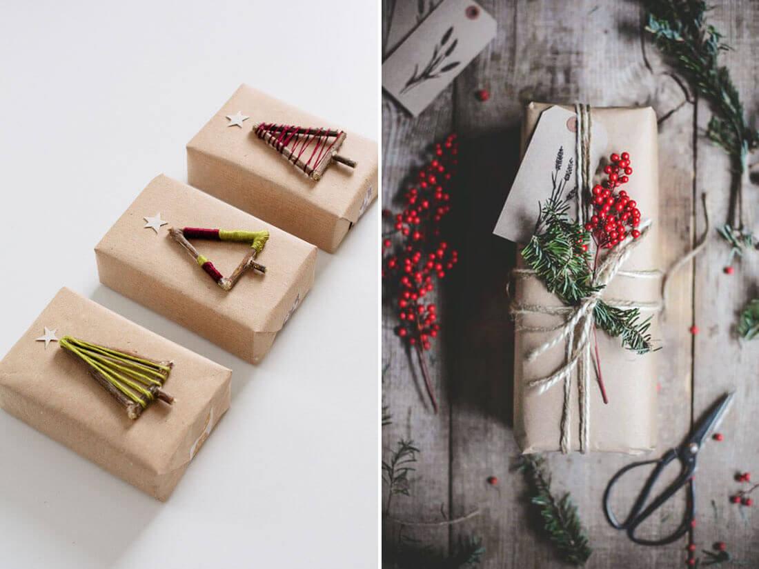 Idee fai da te per natale, decori per pacchi regalo. Fonte Fellow Fellow, Pinterest