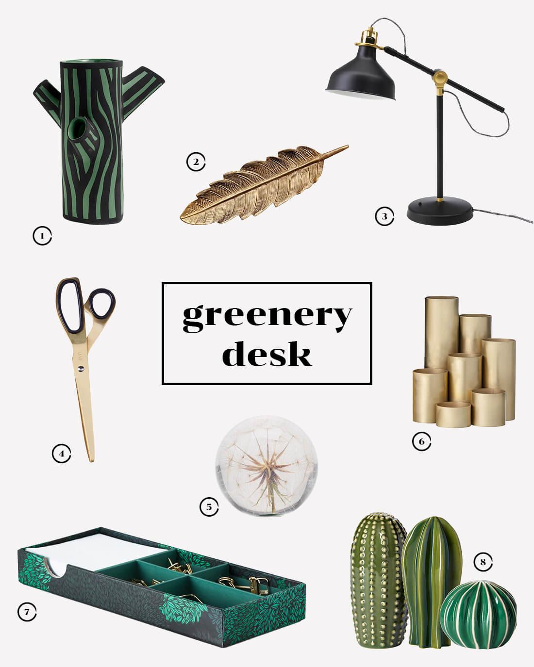 Ispirazioni di design per la scrivania. Style guide greenery desk