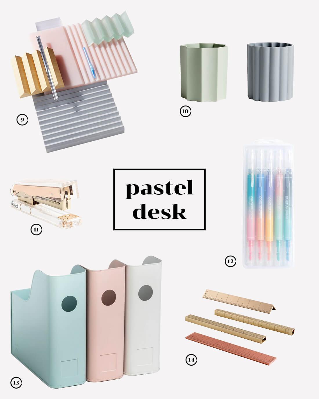 Ispirazioni di design per la scrivania. Style guide pastel desk