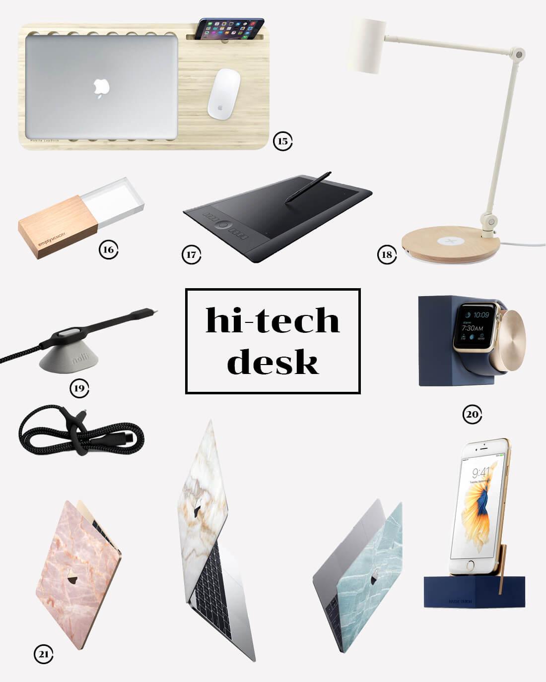 Ispirazioni di design per la scrivania. Style guide hi-teck desk