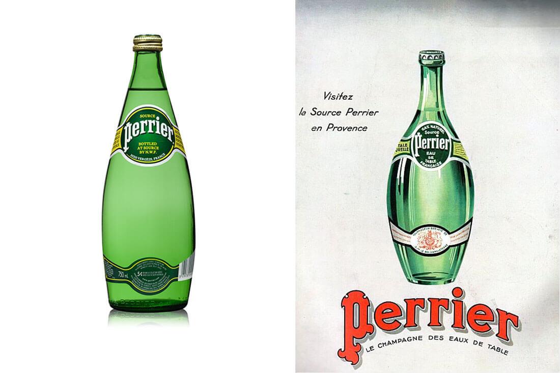 Storia e design di packaging vintage, bottiglia d'acqua Perrier