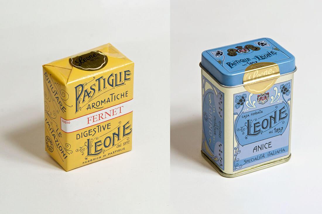 Storia e design di packaging vintage, pastiglie Leone
