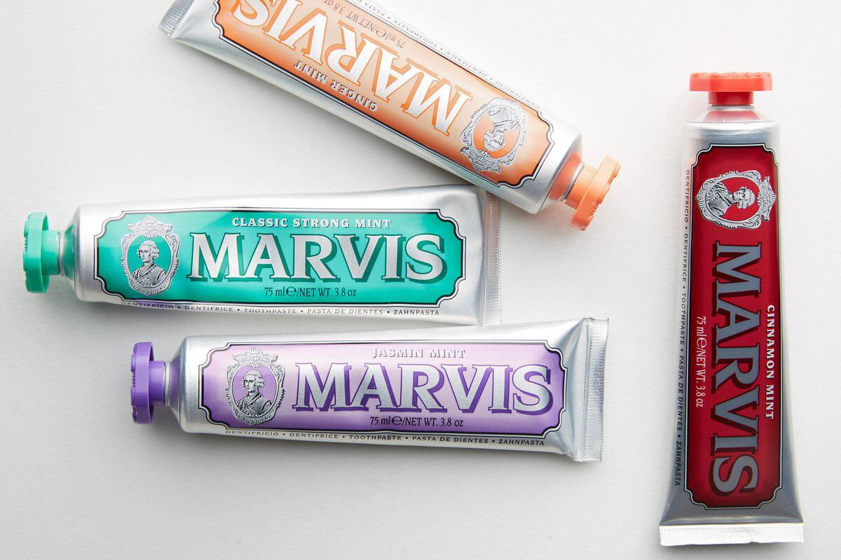 Storia e design di packaging vintage, dentifricio Marvis