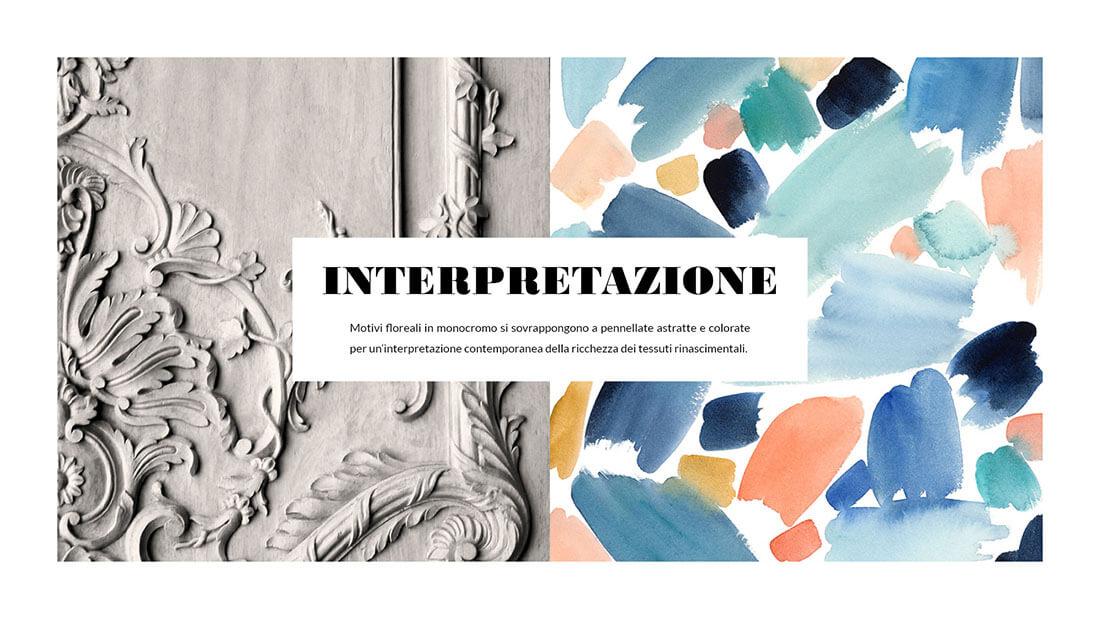 Pattern Nuovo Rinascimento realizzato per il concorso Textile designer di Ambienti Roma. Design by Marianna Milione