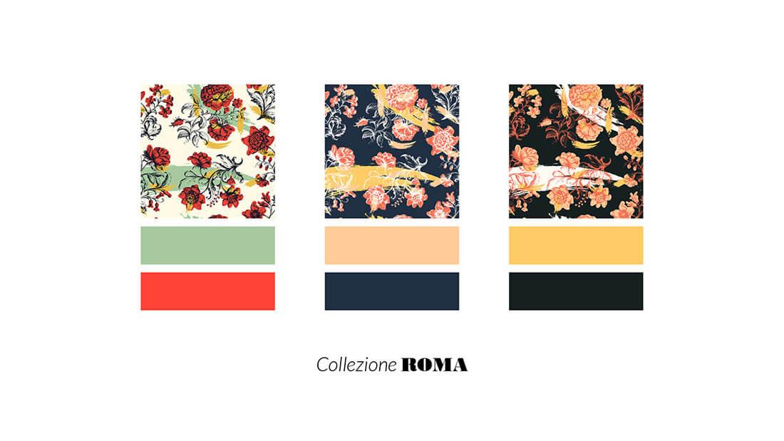 Pattern Nuovo Rinascimento, collezione Roma, realizzato per il concorso Textile designer di Ambienti Roma. Design by Marianna Milione
