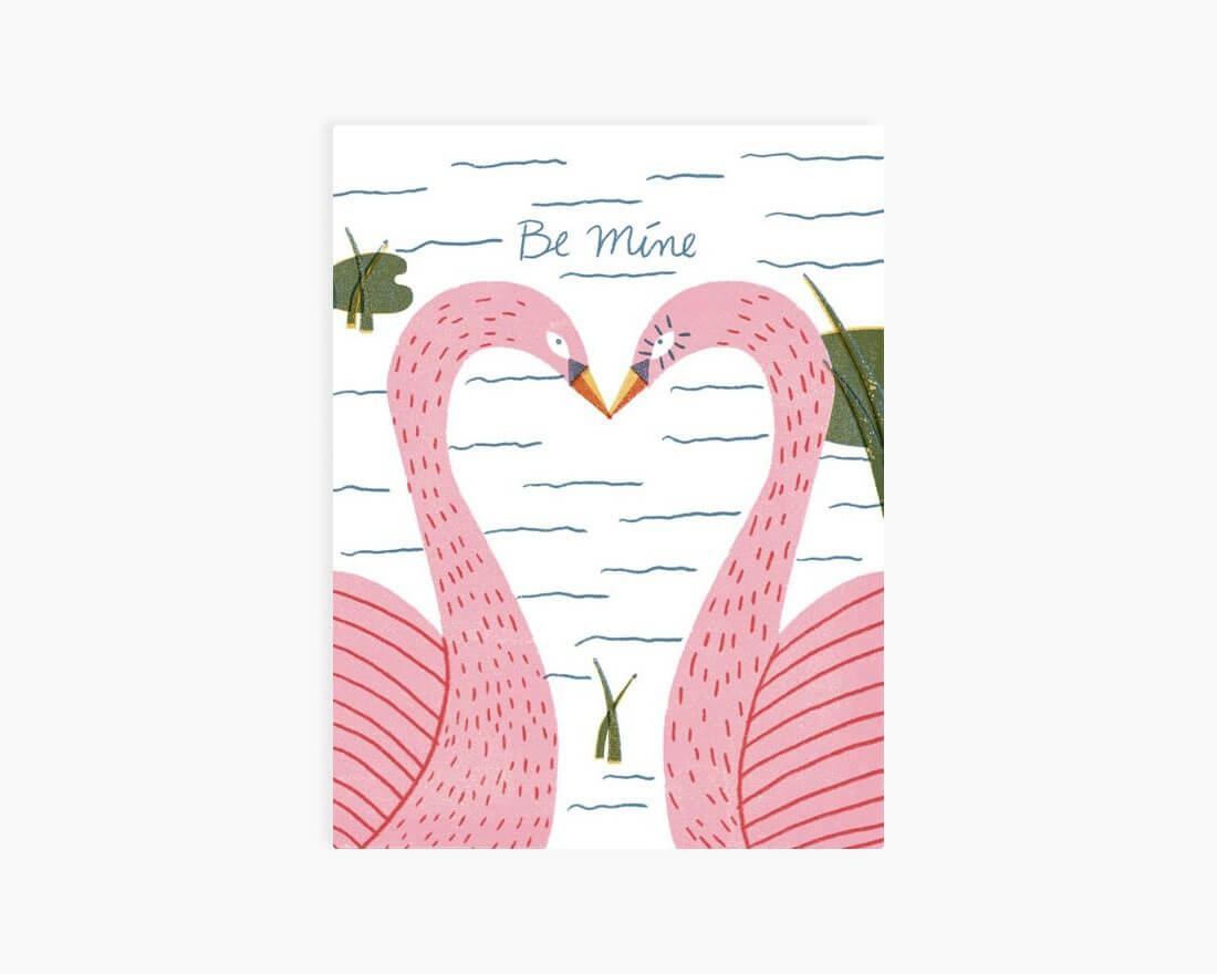 Cartoline di San Valentino illustrate. Coppia di cigni di Barbara Dziadosz