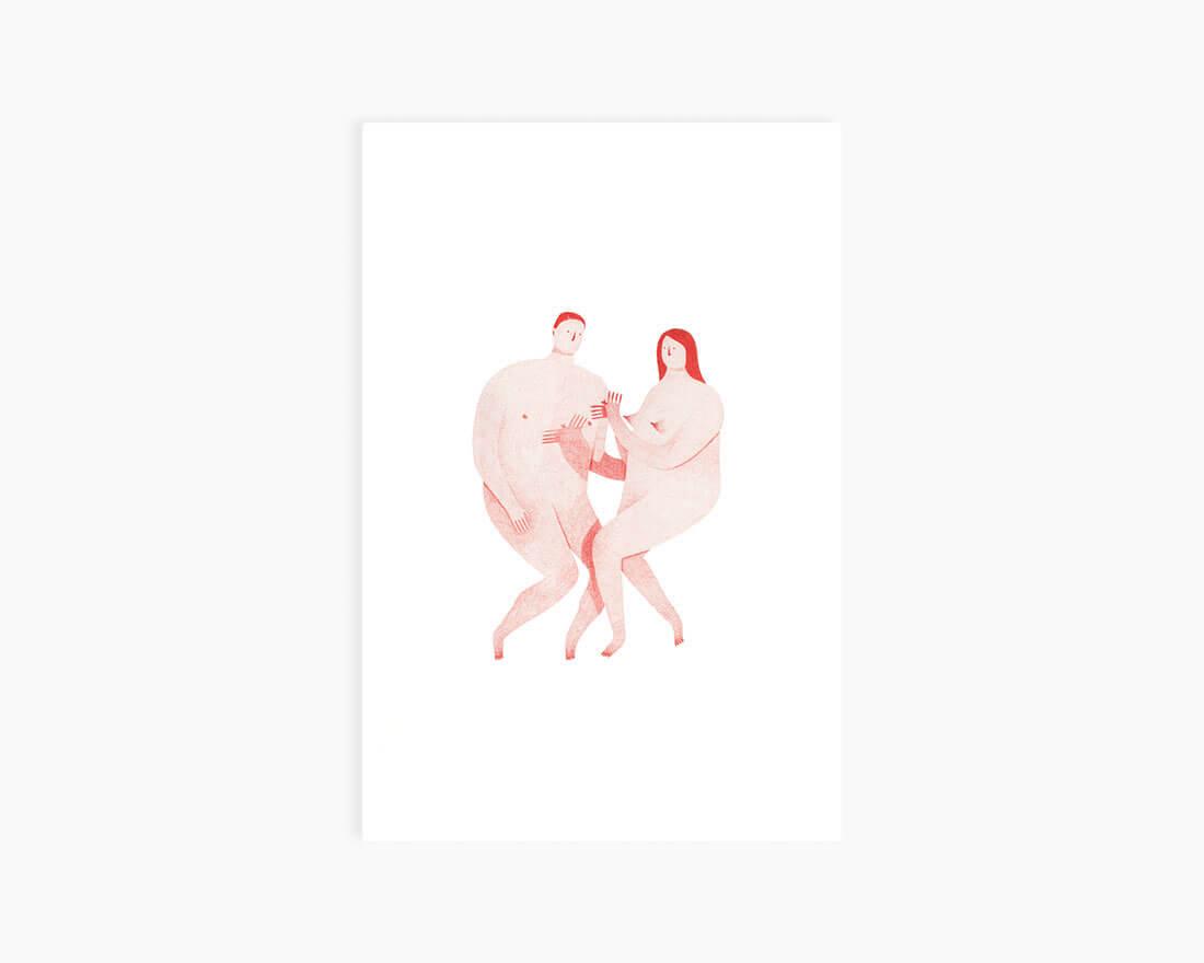 Cartoline di San Valentino illustrate. Coppia di Eleonora Arosio