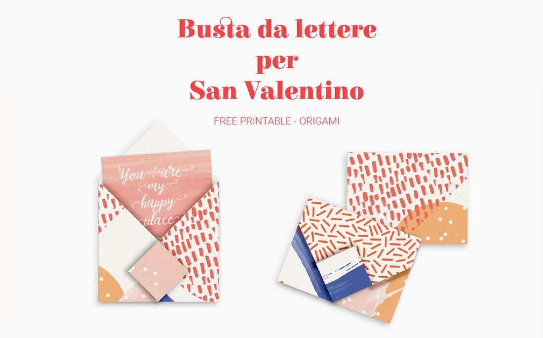 Busta da lettere origami free printable per cartoline di san valentino illustrate