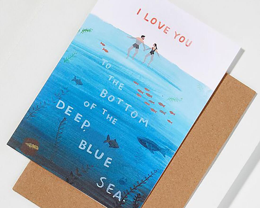 Cartoline di San Valentino illustrate. Coppia a mare di Jade Fisher