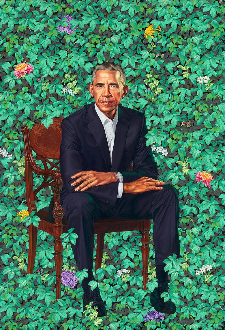 I ritratti presidenziali di michelle e Barack Obama. Dipinto dell'artista Kehinde Wiley