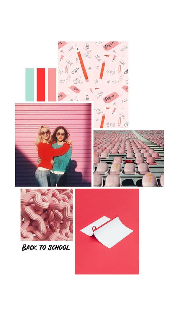 Il moodboard del giorno: back to school. Palette colori: verde acqua, rosso, rosa. Dal blog di Marianna Milione
