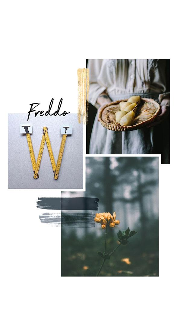 Moodboard del giorno: freddo. Palette colori: giallo paglierino, ardesia, argento. Dal blog di Marianna Milione
