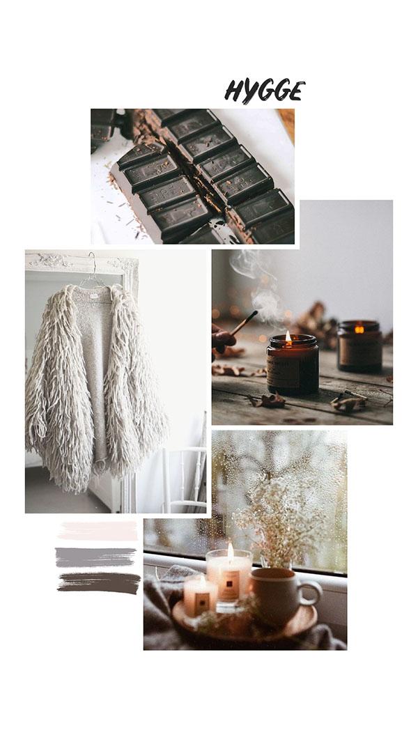 Moodboard del giorno: hygge. Palette colori: beige, grigio ghiaia, cioccolato. Dal blog di Marianna Milione