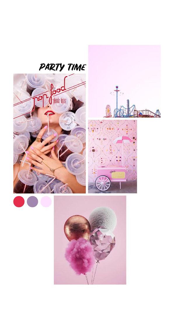 Il moodboard del giorno: party time. Palette colori: rosso, viola, rosa. Dal blog di Marianna Milione