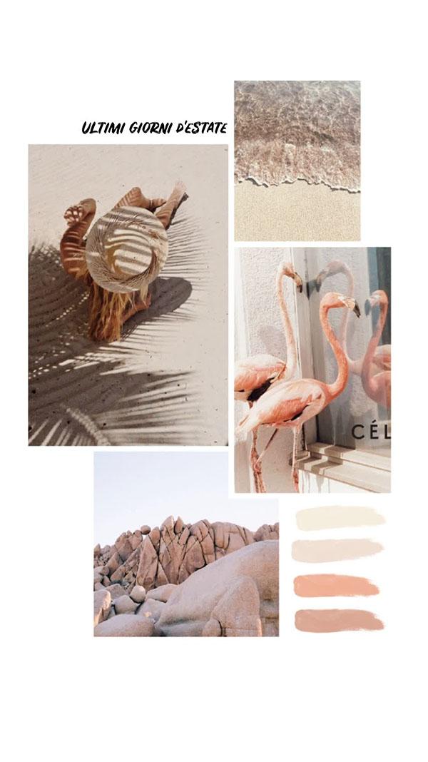 Il moodboard del giorno: ultimi giorni d'estate. Palette colori: beige, sabbia, kaki. Dal blog di Marianna Milione