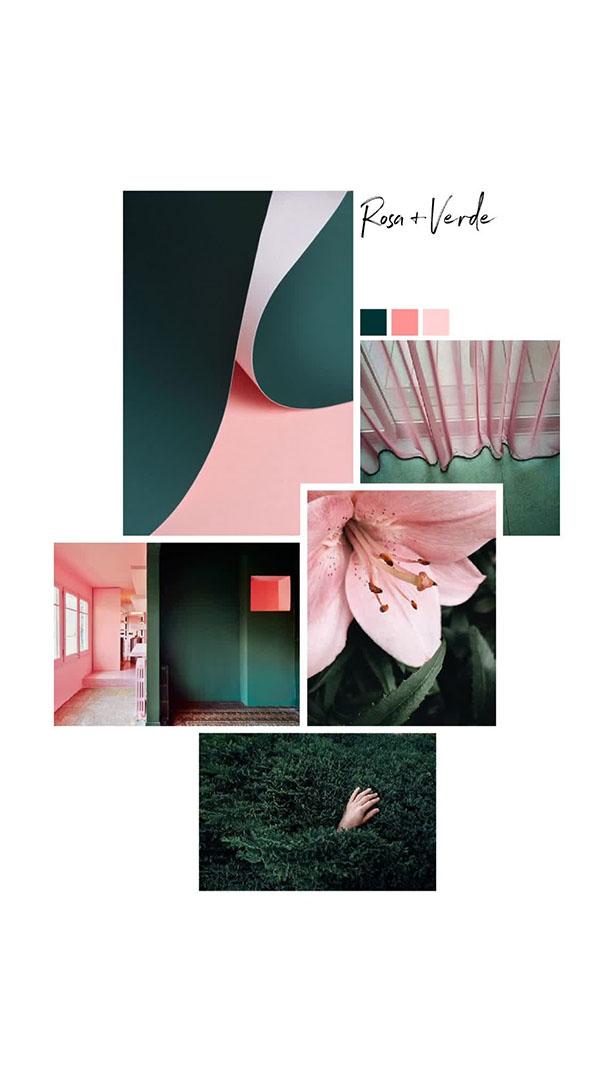 Moodboard del giorno: rosa+verde. Palette colori: verde pino, rosa. Dal blog di Marianna Milione