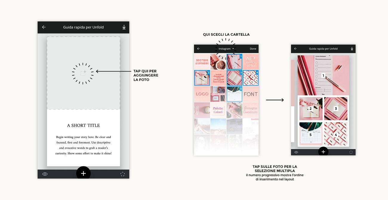 Unfold, come si usa l'app per creare stories per Instagram. Tutorial su come aggiungere le foto. Articolo dal blog di Marianna Milione