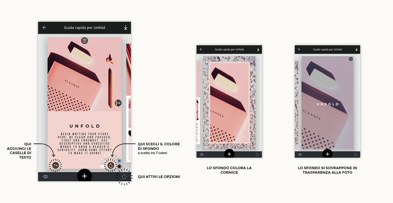 Unfold, come si usa l'app per creare stories per Instagram. Tutorial su come cambiare il colore di sfondo. Articolo dal blog di Marianna Milione