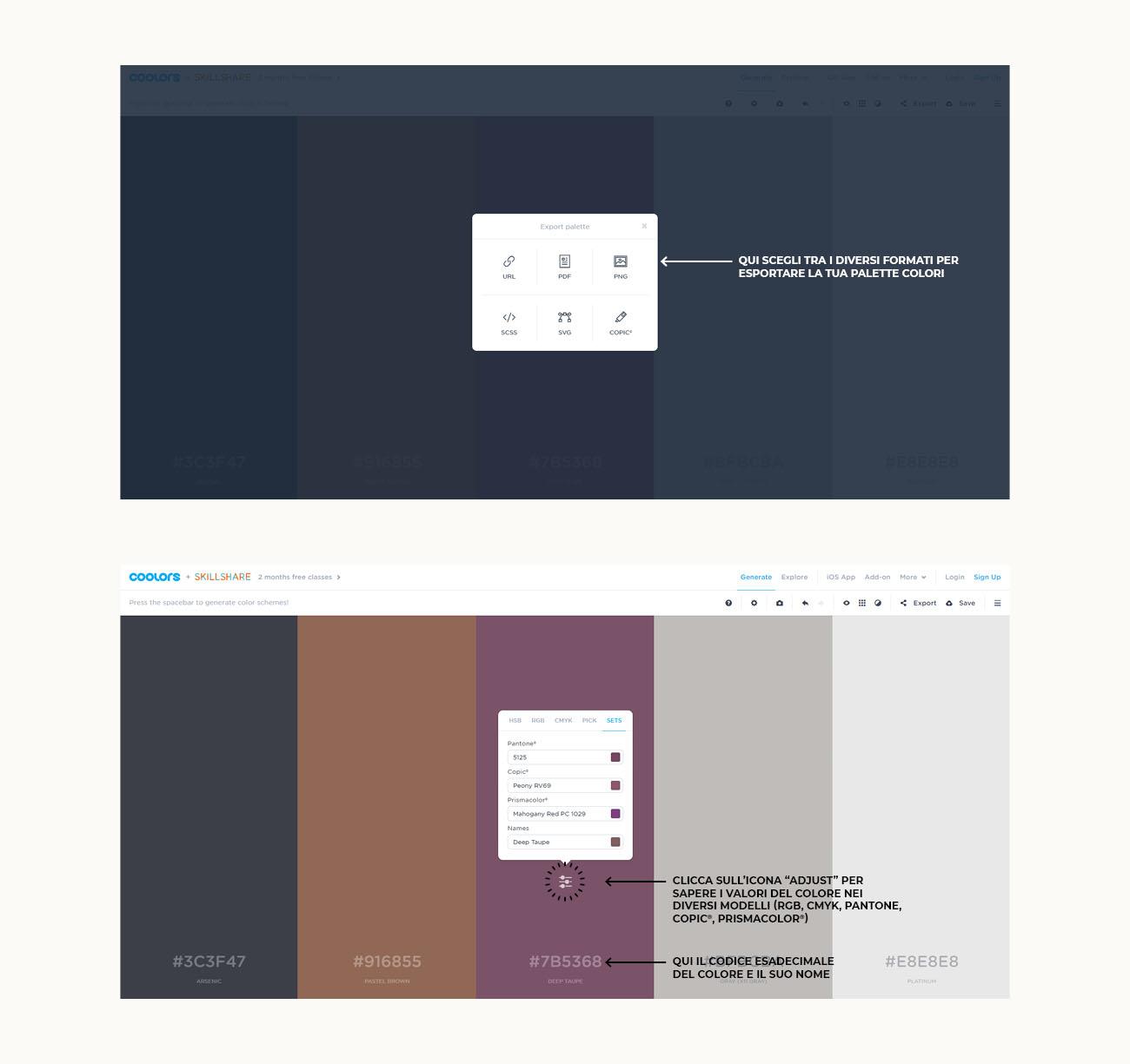 Come creare una palette colori con Coolors, tutorial su come esportare la palette. Articolo dal blog di Marianna Milione