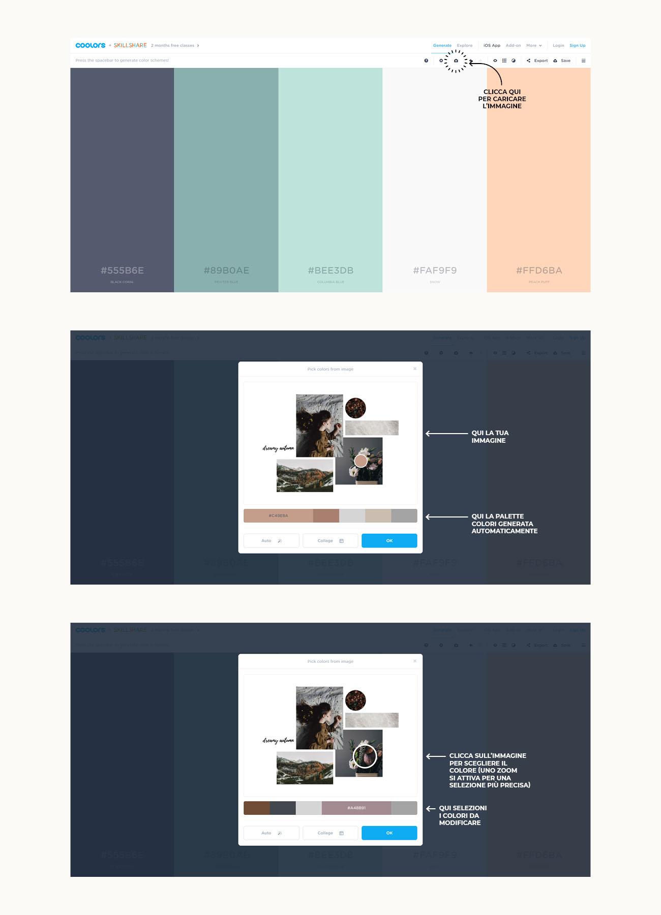 Come creare una palette colori con Coolors, tutorial su come caricare un'immagine e scegliere i colori. Articolo dal blog di Marianna Milione
