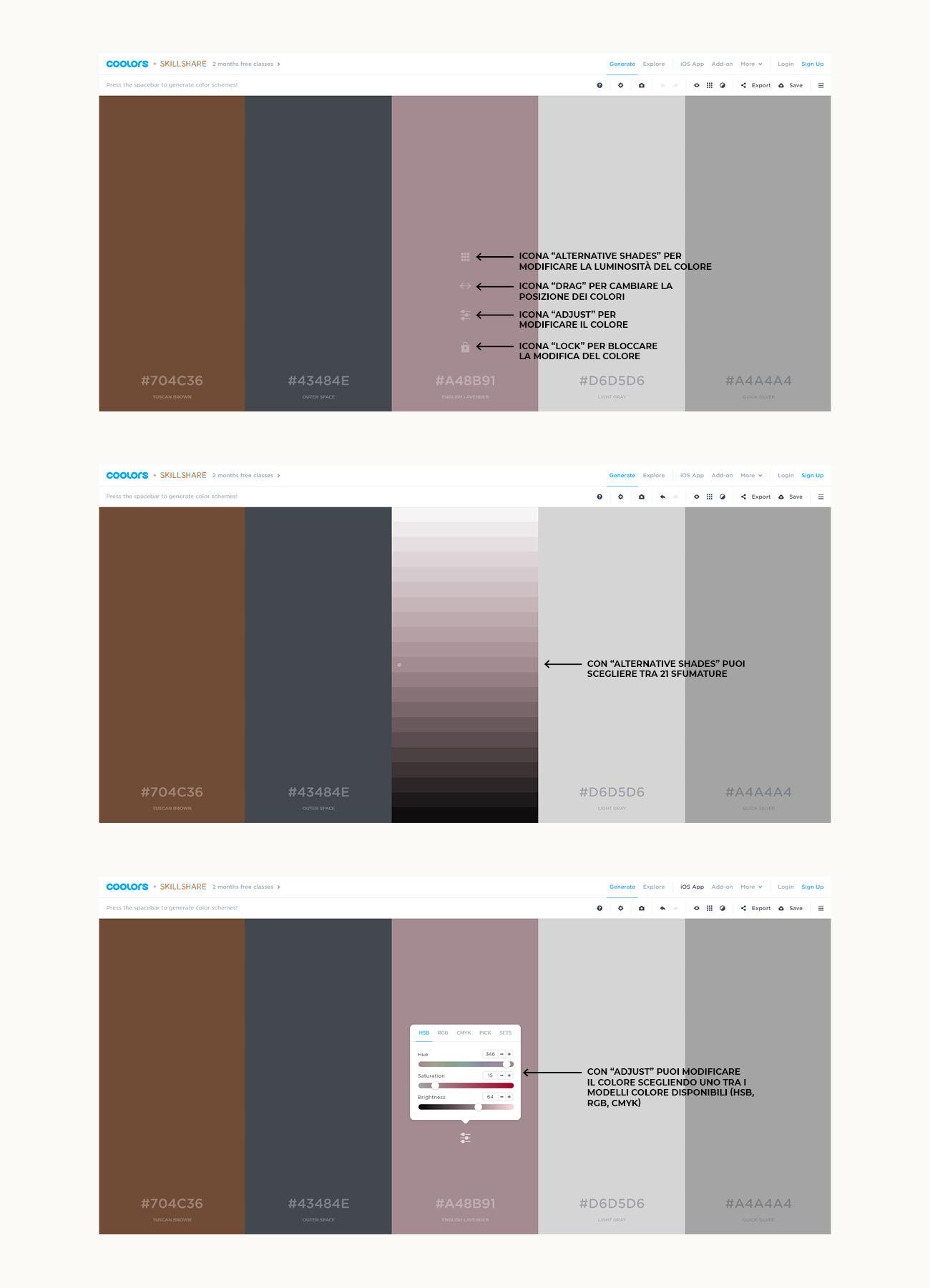 Come creare una palette colori con Coolors, tutorial su come modificare un colore. Articolo dal blog di Marianna Milione