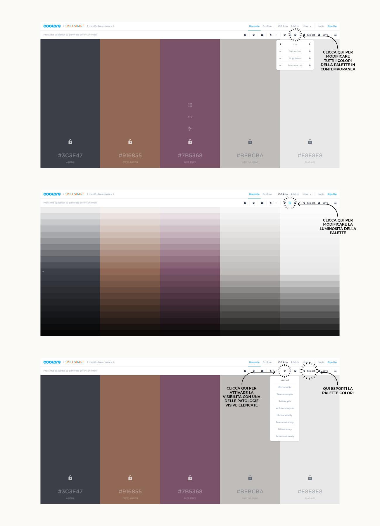 Come creare una palette colori con Coolors, tutorial su come modificare la palette. Articolo dal blog di Marianna Milione