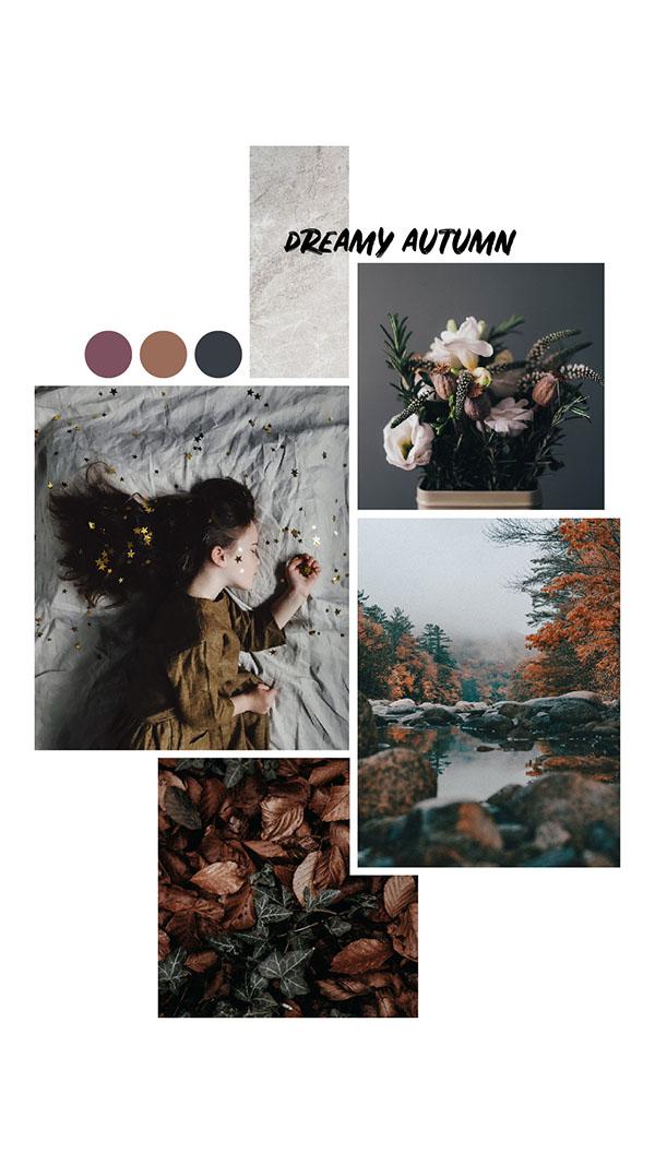 Moodboard del giorno: dreamy autumn. Palette colori: malva, cappuccino, antracite. Dal blog di Marianna Milione