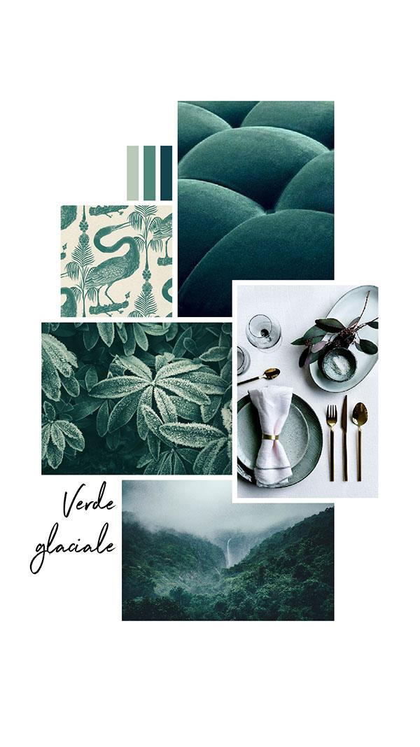 Moodboard del giorno: verde glaciale. Palette colori: verde muschio, verde veronese, smeraldo. Dal blog di Marianna Milione