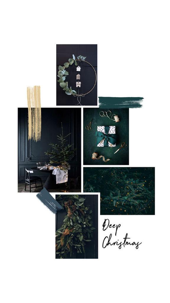 Moodboard del giorno: deep christmas. Palette colori: giallo paglierino, ceruleo scuro, verde pino. Dal blog di Marianna Milione