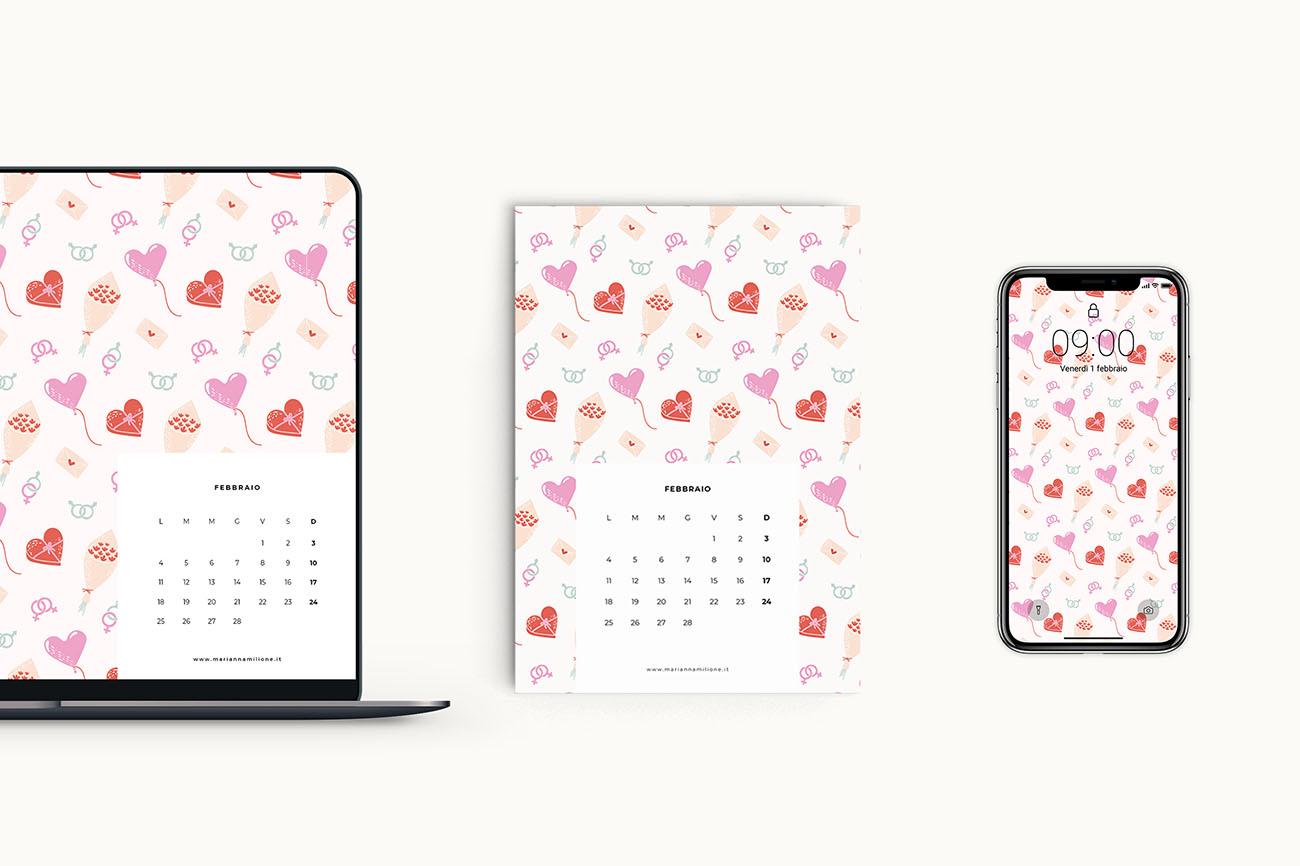 Calendario mensile per febbraio 2019 con pattern disponibile per la stampa, computer e telefono. Risorse gratuite di Marianna Milione