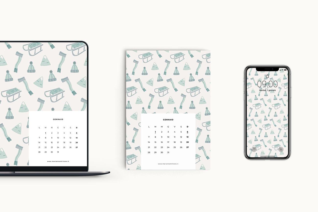 Calendario mensile per gennaio 2019 con pattern disponibile per la stampa, computer e telefono. Risorse gratuite di Marianna Milione