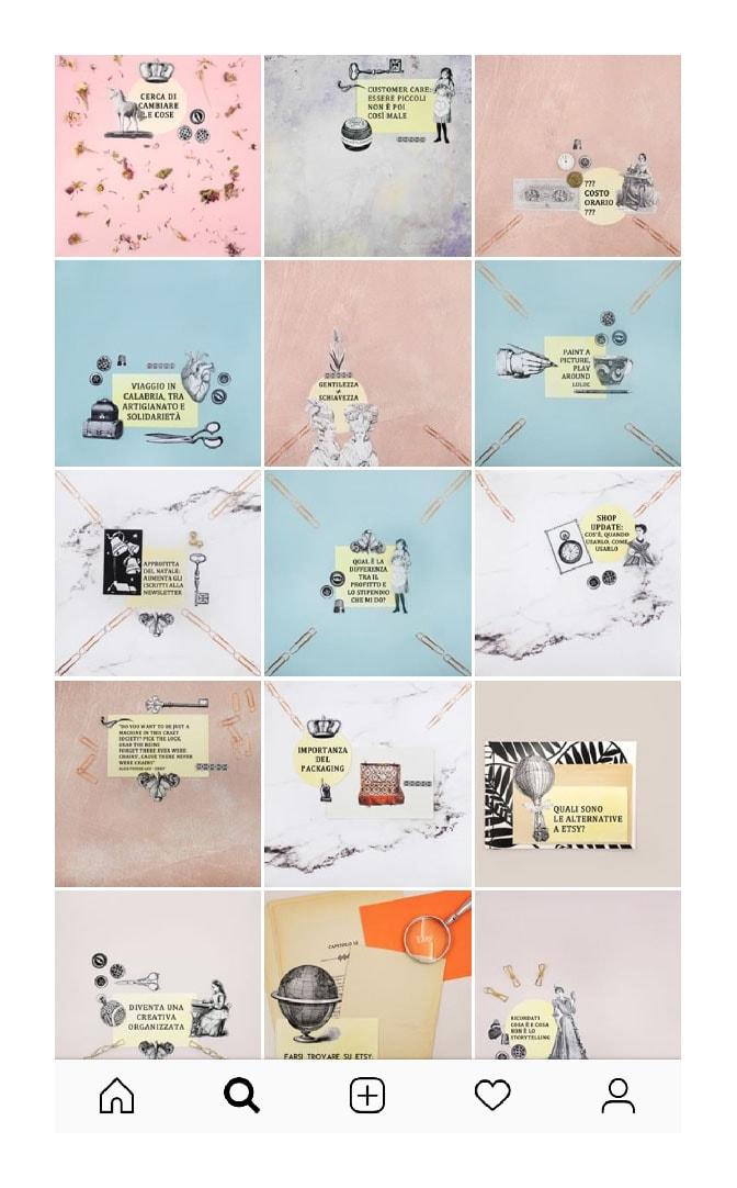 Come usare il mosaico nella gallery di Instagram. Profilo di Francesca Baldassarri. Dal blog di Marianna Milione