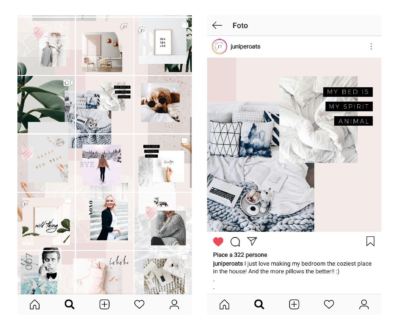 Come usare il mosaico nella gallery di Instagram. Profilo di JuniperOats-Studio. Dal blog di Marianna Milione
