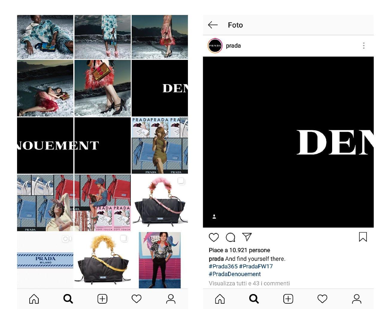 Come usare il mosaico nella gallery di Instagram. Profilo di Prada. Dal blog di Marianna Milione