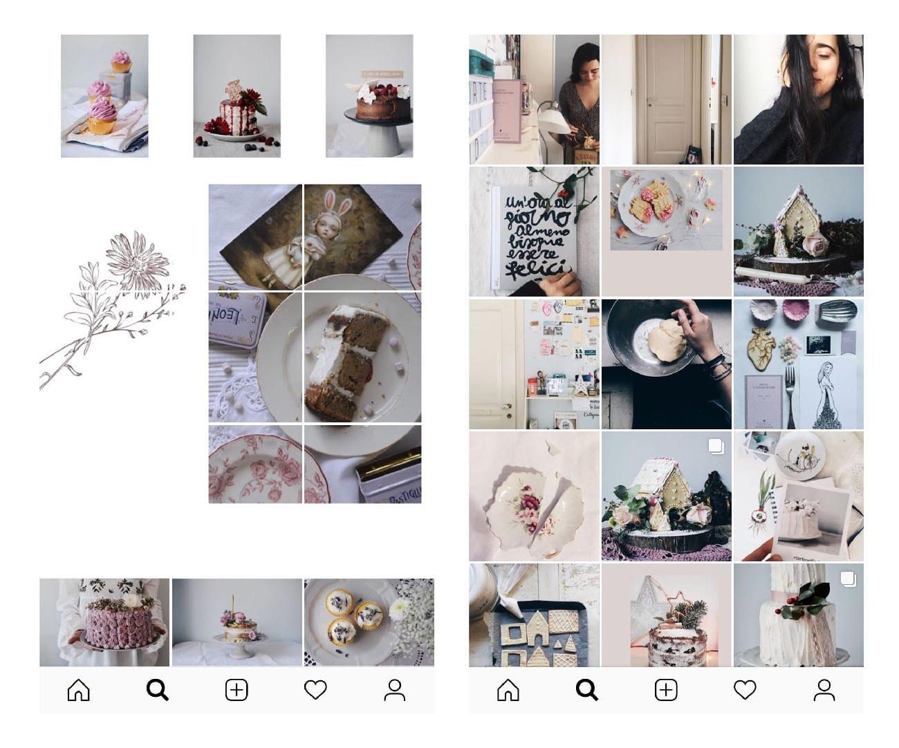Come usare il mosaico nella gallery di Instagram. Profilo di Tortecoifiori e elenamariacito. Dal blog di Marianna Milione