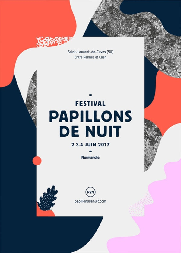 Come fare la grafica di un volantino, esempio di sfondo. Volantino del Festival Papillons de Nuit dello studio Murmure. Dal blog di Marianna Milione.