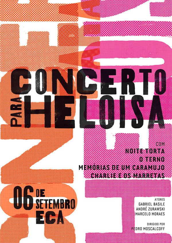 Come fare la grafica di un volantino, esempio di testo. Volantino del Concerto Para Heloisa dello studio Três Design. Dal blog di Marianna Milione.
