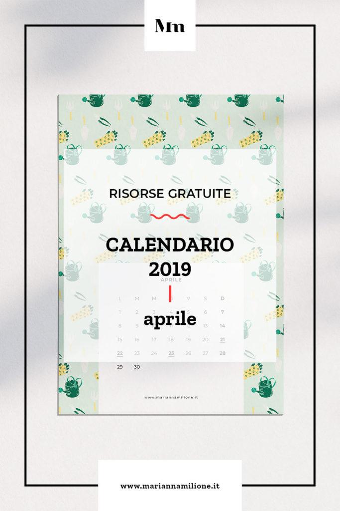 Calendario mensile per aprile 2019 con pattern disponibile per la stampa, computer e telefono. Risorse gratuite di Marianna Milione
