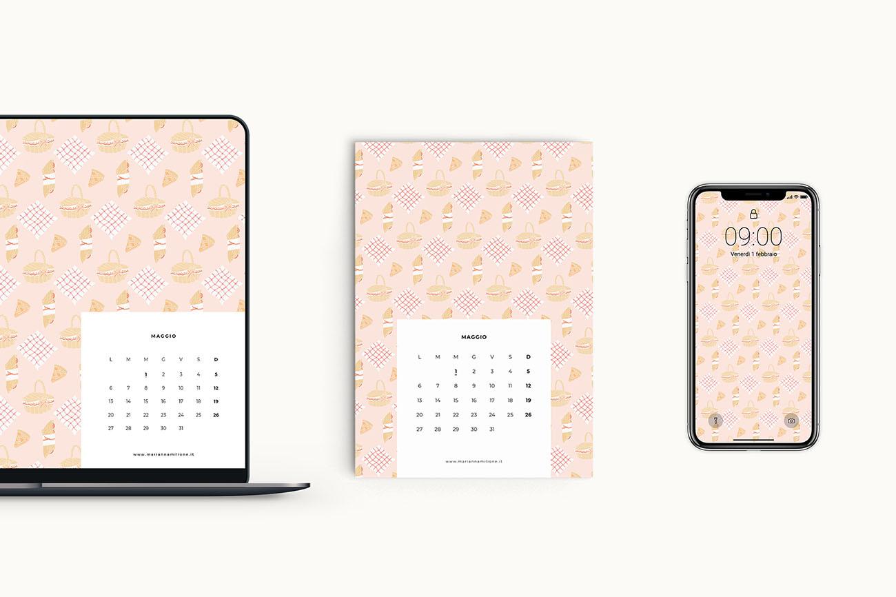 Calendario mensile per maggio 2019 con pattern disponibile per la stampa, computer e telefono. Risorse gratuite di Marianna Milione