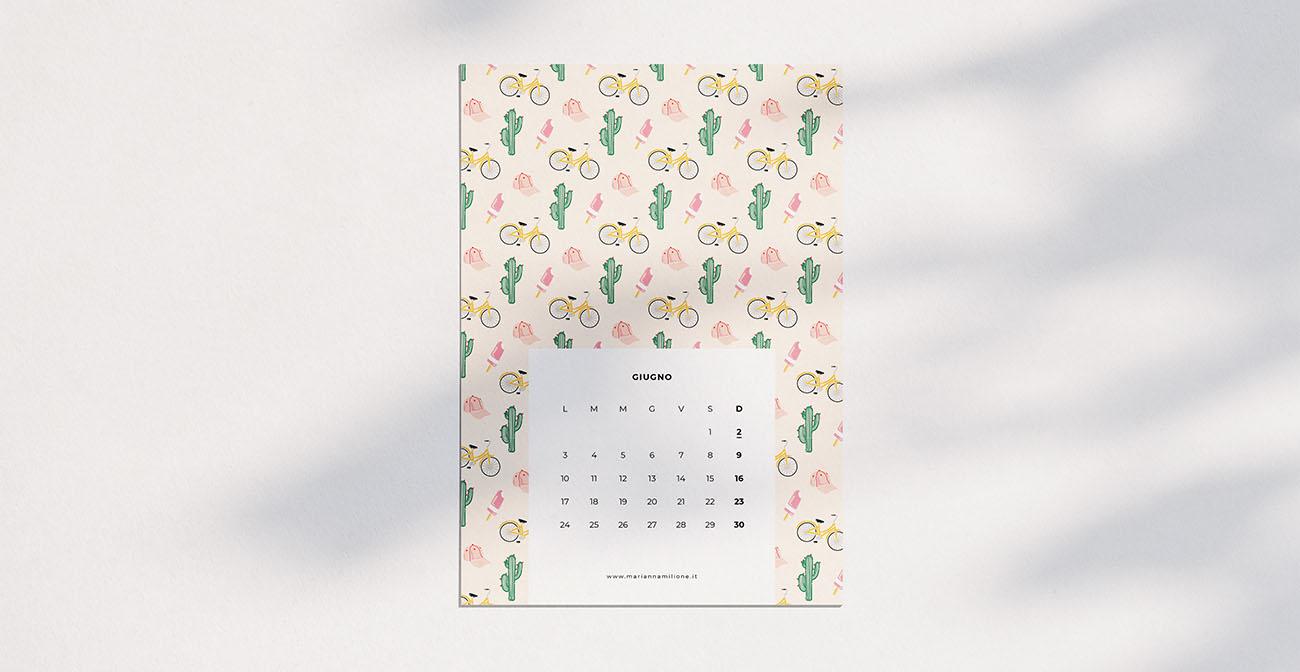 Calendario mensile per giugno 2019 con pattern disponibile per la stampa, computer e telefono. Risorse gratuite di Marianna Milione
